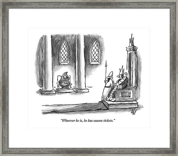 A King Is Seated On His Throne Looking At Another Framed Print