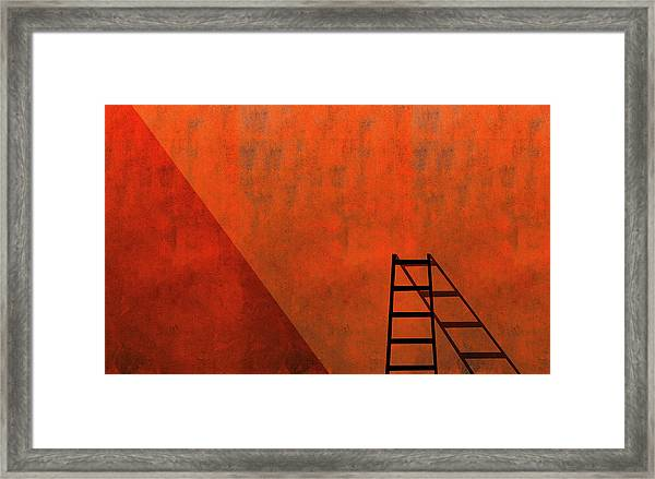 A Ladder And Its Shadow Framed Print