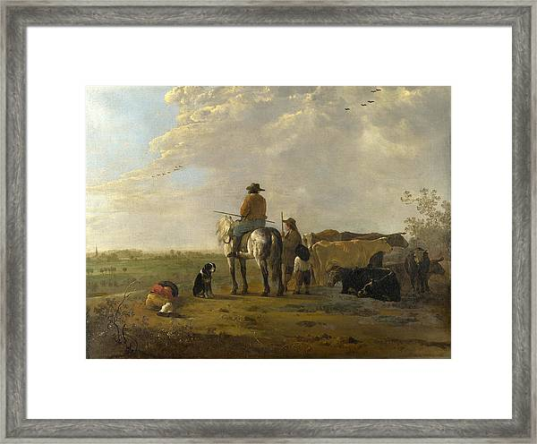 A Landscape With Horseman Herders And Cattle Framed Print