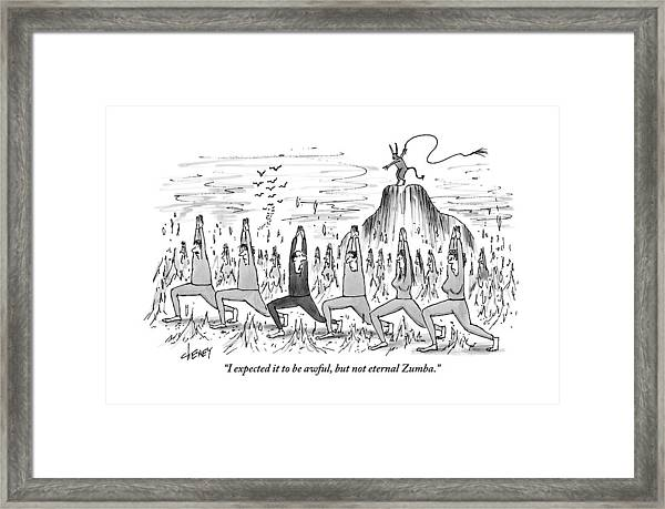 A Large Crowd Of People Are Doing Zumba In Hell Framed Print