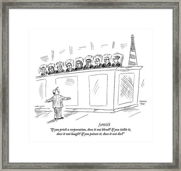A Lawyer Representing A Corporation Standing Framed Print