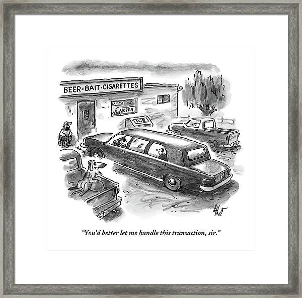 A Limo Is Parked At A Rundown Framed Print