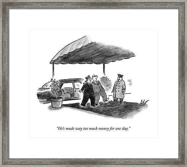 A Limousine Driver Helps A Drunk-looking Ceo Walk Framed Print