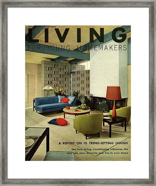 A Living Room With Carpeting By Callaway Framed Print