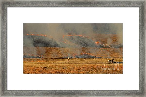 A Lone Firefighter On The Norbeck Prescribed Fire. Framed Print