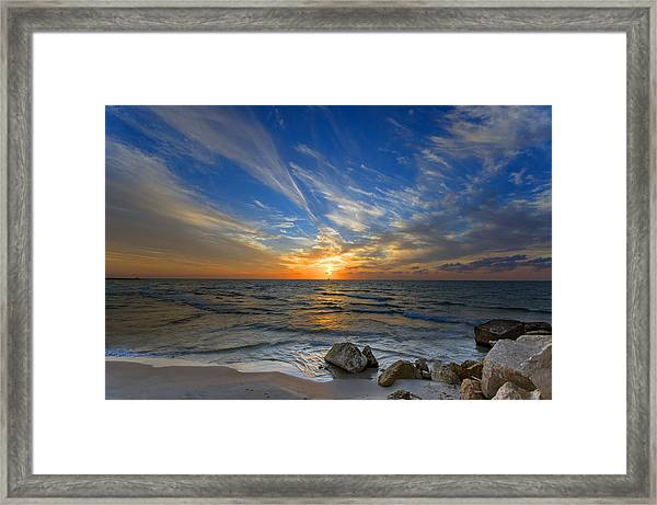 A Majestic Sunset At The Port Framed Print