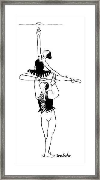 A Male Ballet Dancer Lifts A Ballerina Framed Print