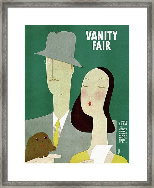 A Man And A Woman With A Dog Framed Print