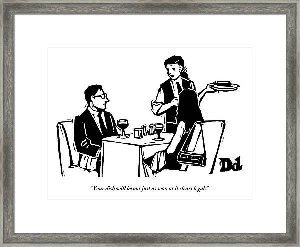 A Man And Woman Are Dining At A Restaurant Framed Print