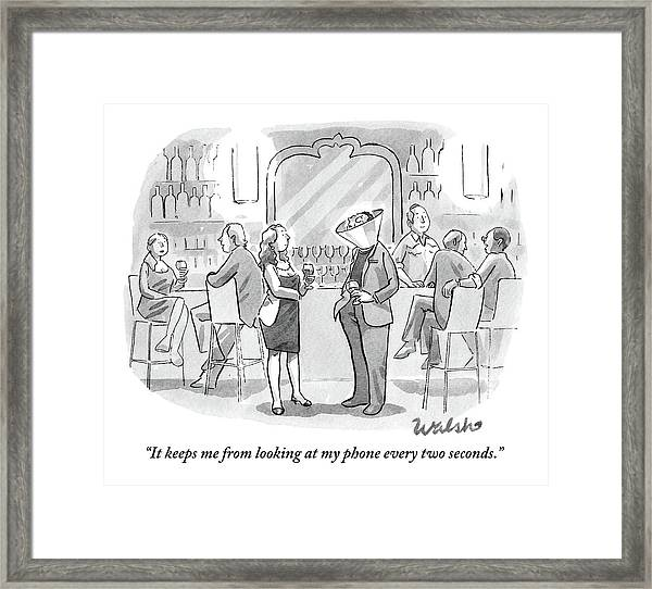 A Man And Woman Talk At The Bar Framed Print
