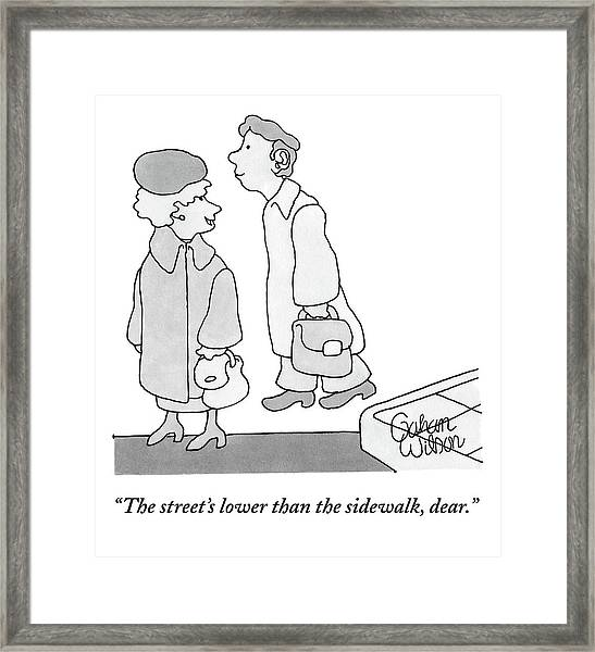 A Man Appears To Have Walked Off The Sidewalk Framed Print