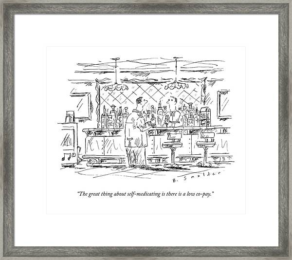 A Man At A Bar Talking To The Bartender Framed Print