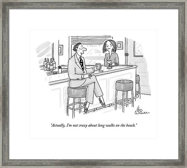 A Man At A Bar Wears Ladies' Shoes Framed Print