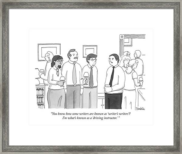A Man At A Cocktail Party Explains To Three Framed Print