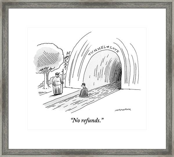 A Man At The Entrance Of The Tunnel Of Love At An Framed Print
