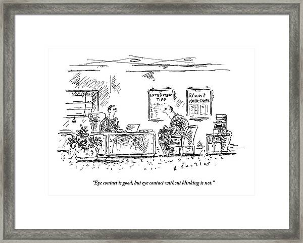 A Man Behind A Desk Gives The Man Sitting Framed Print