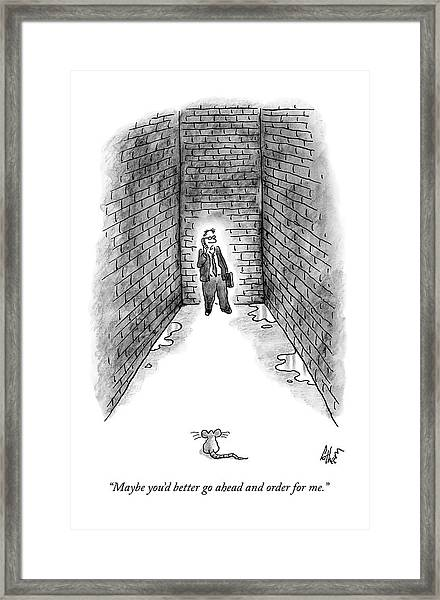 A Man Cornered In An Alleyway Speaks On His Cell Framed Print