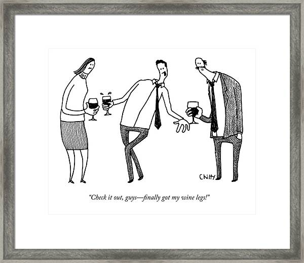 A Man Drinking Wine Stands On Unsteady Legs Framed Print by Tom Chitty