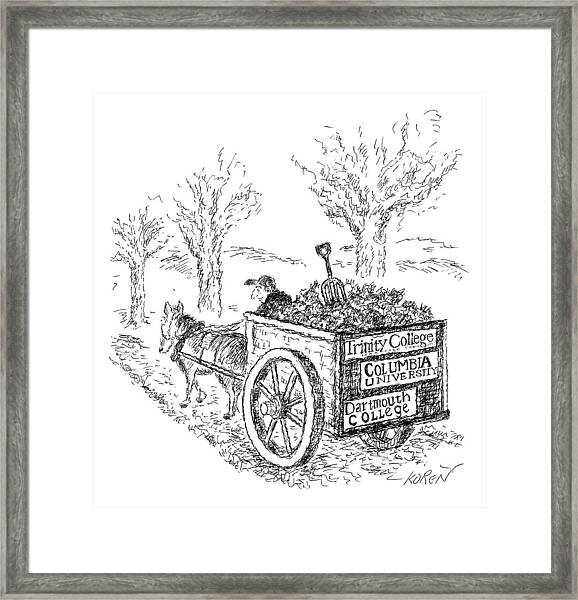 A Man Drives A Horse-drawn Cart With Bumper Framed Print
