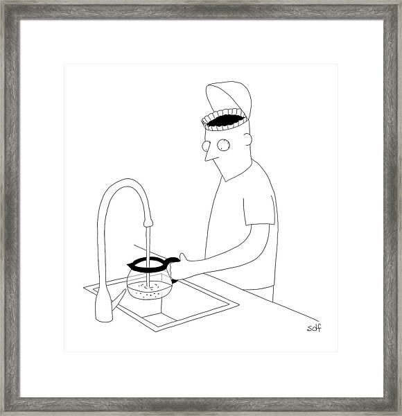 A Man Filling Up His Coffee Pot Framed Print