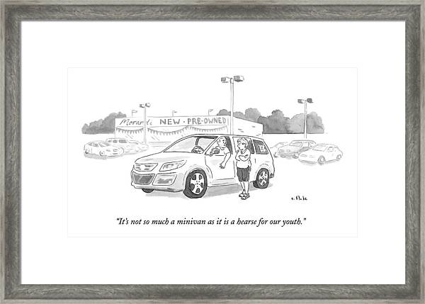 A Man In A Minivan Speaks To A Woman At A Car Framed Print