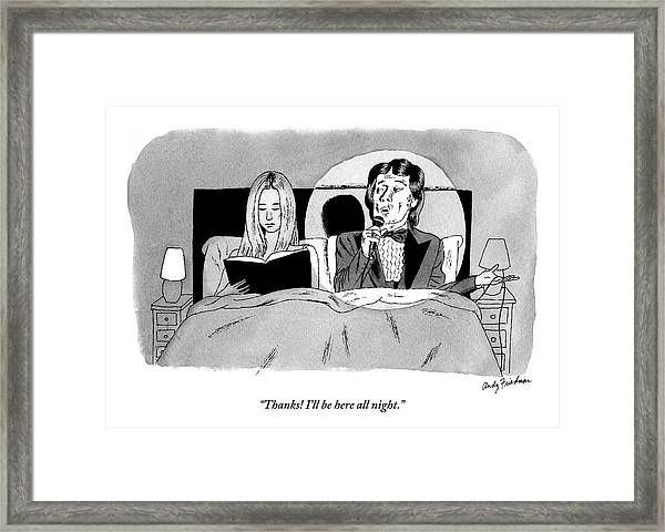 A Man In A Performer's Tuxedo Lies In Bed Next Framed Print