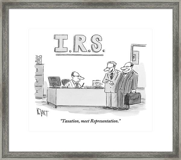 A Man Introduces A Lawyer To An Irs Agent Framed Print
