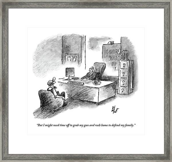 A Man Is Sitting Behind A Desk Talking To A Man Framed Print