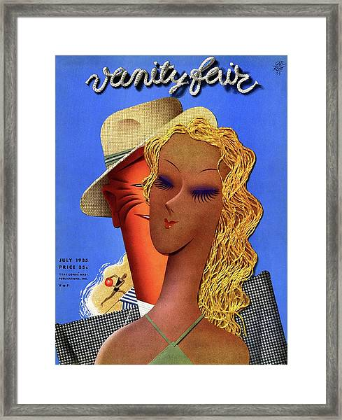 A Man Leering At A Woman At The Beach Framed Print