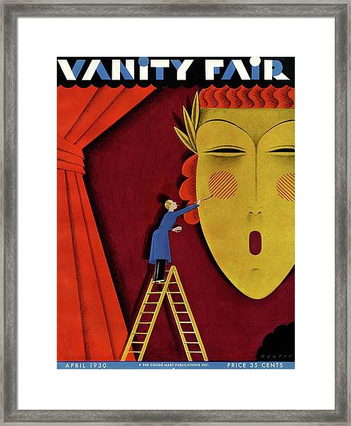 Vanity Fair Cover Of A Man On A Ladder Framed Print by Maurer
