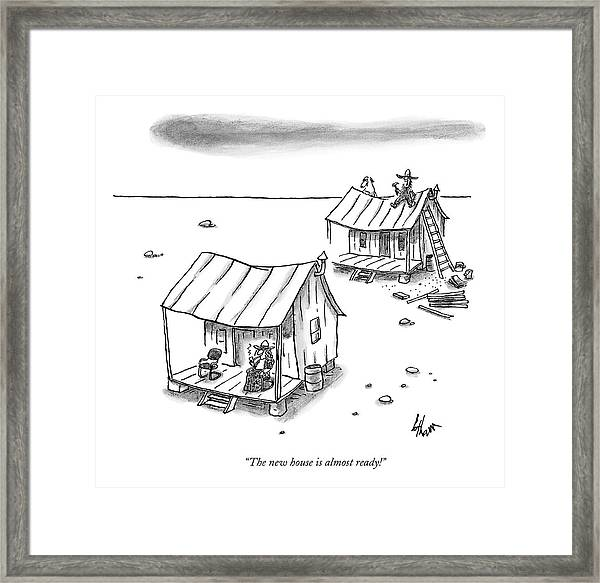 A Man On Top Of A Shack With A Ladder Framed Print
