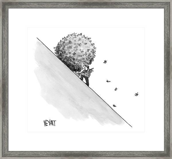 A Man Rakes Leaves Uphill Framed Print