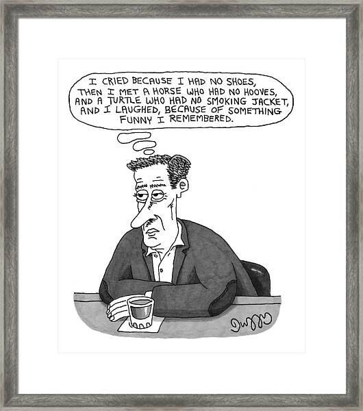 A Man Sits At A Bar With A Drink In Front Framed Print