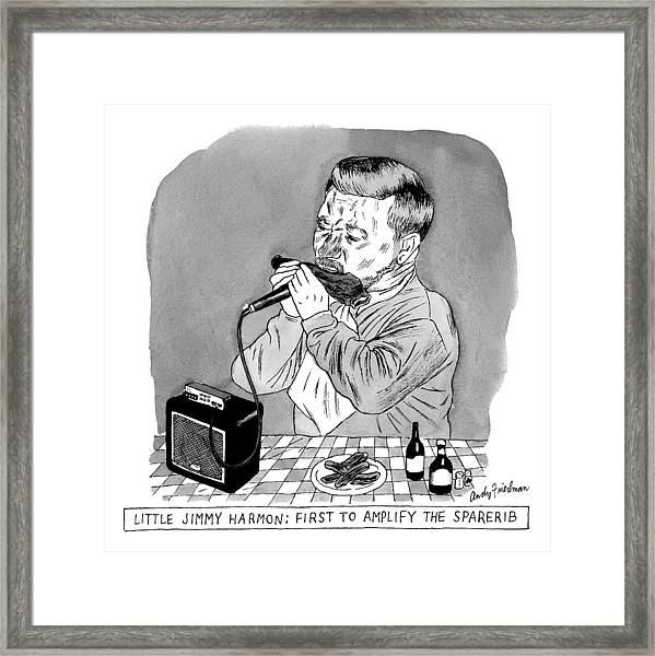 A Man Sits At A Table In Front Of A Plate Of Ribs Framed Print