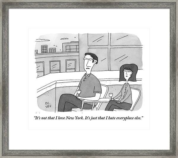 A Man Speaks To A Woman On A Balcony In The City Framed Print