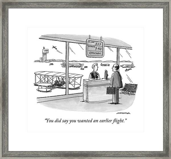 A Man Speaks To An Airport Attendant Framed Print