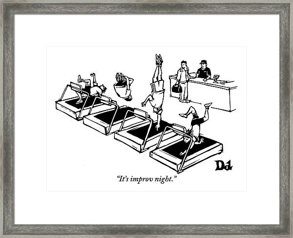 A Man Stands At The Desk Of A Gym. Four People Framed Print