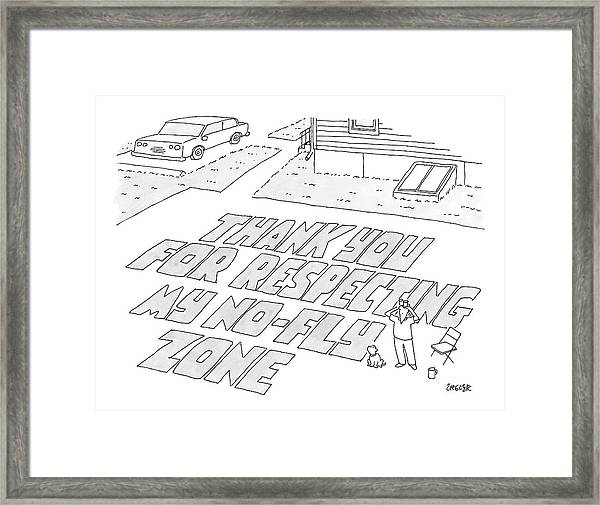 A Man Stands In His Back Yard Where The Words Framed Print