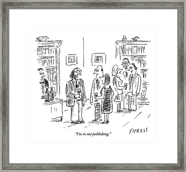A Man Talks To A Couple At A Cocktail Party Framed Print
