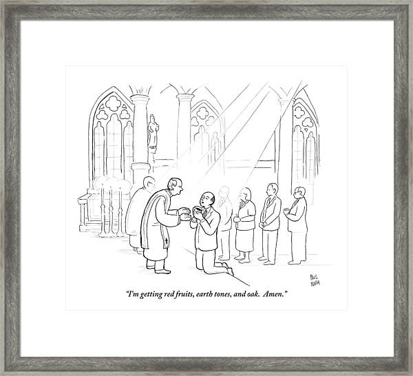 A Man To Priest As He Drinks The Wine Framed Print