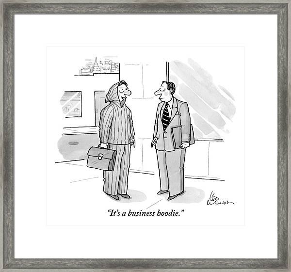 A Man Wearing A Hoodie Is Seen Speaking Framed Print