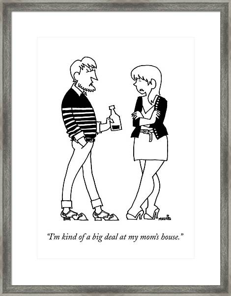 A Man Wearing A Striped Sweater Introduces Framed Print