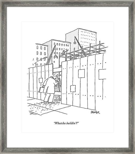 A Man With A Briefcase Looks Downwards Framed Print