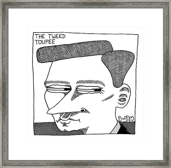 A Man's Head With A Tweed Toupee Framed Print