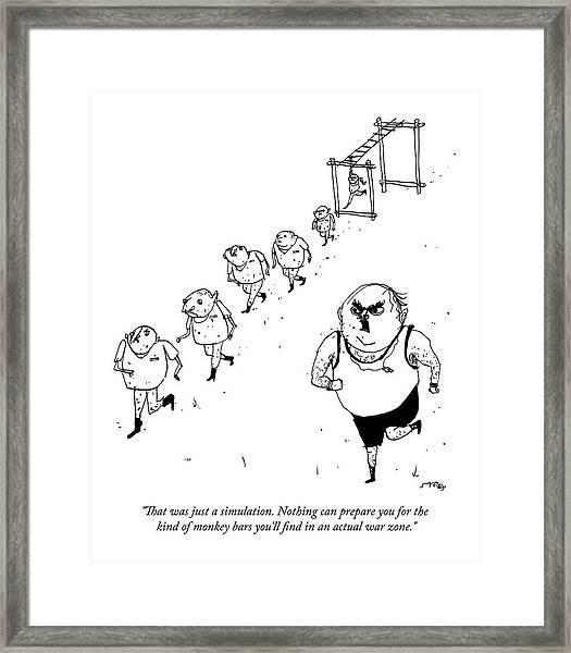 A Military Drill Sergeant Speaks To His Troops Framed Print