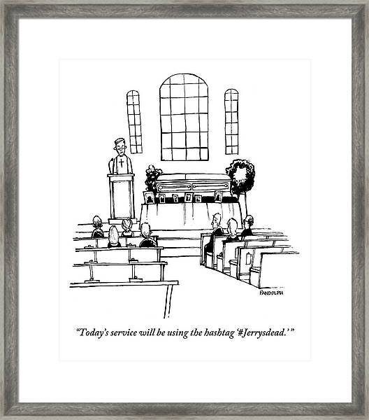 A Minister Speaks At A Funeral Service Framed Print