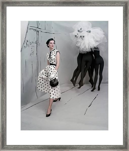 A Model In A Mollie Parnis Dress Framed Print by Horst P. Horst