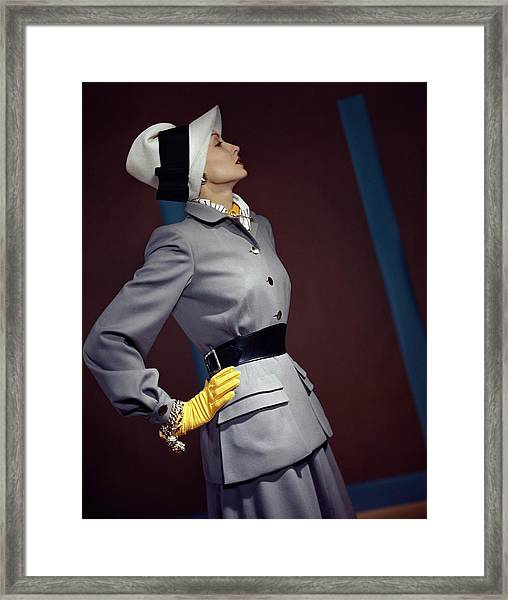 A Model In A Vogue Couturier Suit Framed Print
