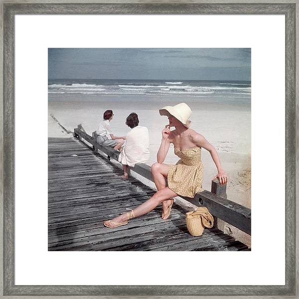 A Model Sitting On A Ramp Framed Print