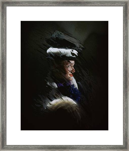 A Model Wearing A Coat And Hat Framed Print by John Rawlings